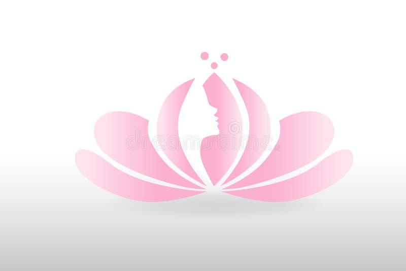 在莲花商标的妇女面孔 库存例证