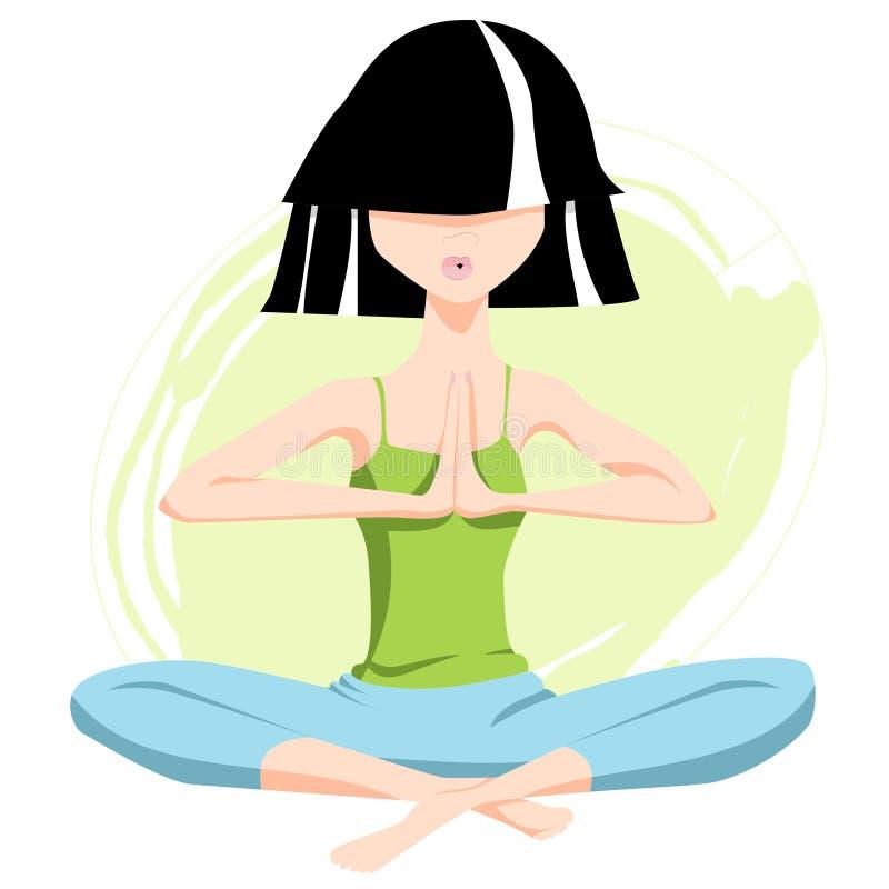 在莲花姿势,在namaste的手的瑜伽字符 向量例证