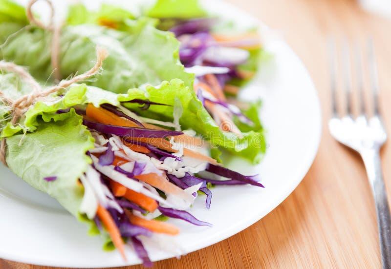 在莴苣包裹的圆白菜沙拉 库存照片