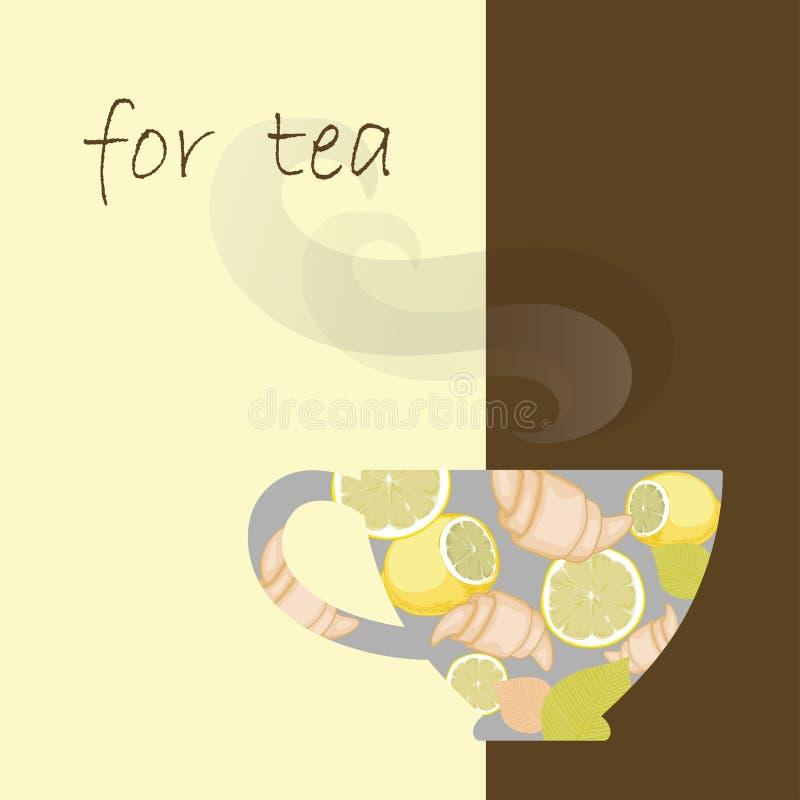 在菜单的茶杯 向量例证