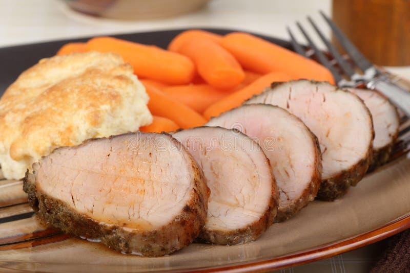 猪里脊肉晚餐 免版税库存图片
