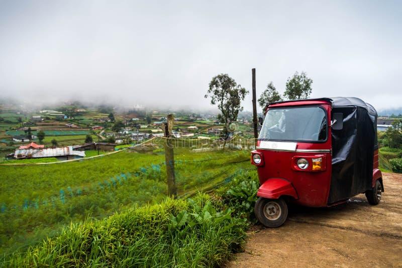 在菜种植园的红色tuktuk 免版税库存照片