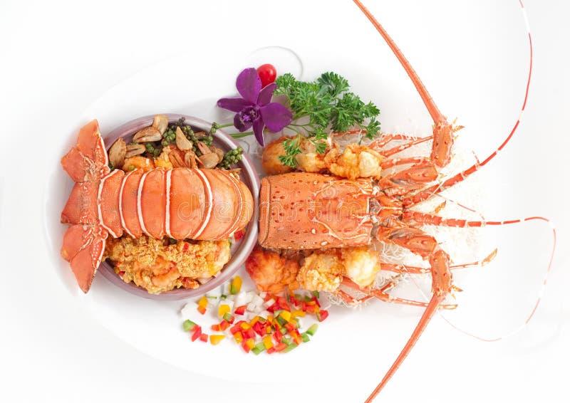 在菜装饰的被蒸的龙虾 图库摄影