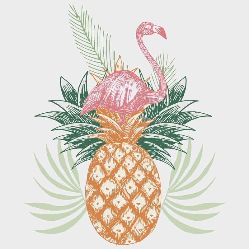 在菠萝热带印刷品的火鸟 向量例证