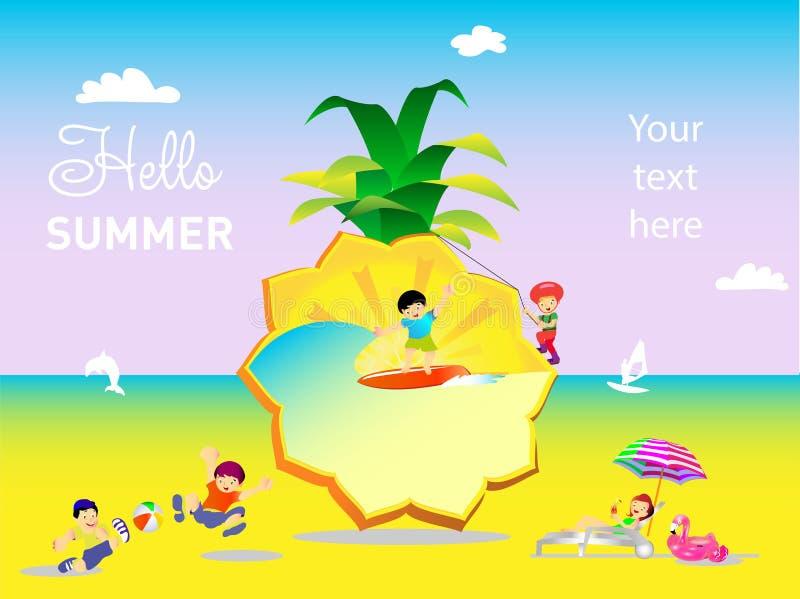 在菠萝背景的夏天休假  库存例证