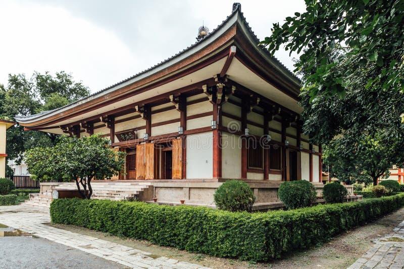 在菩提伽耶的Indosan日本日本寺庙,比哈尔省,印度 免版税库存图片