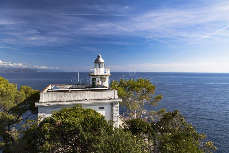 在菲诺港,意大利的历史的灯塔 图库摄影