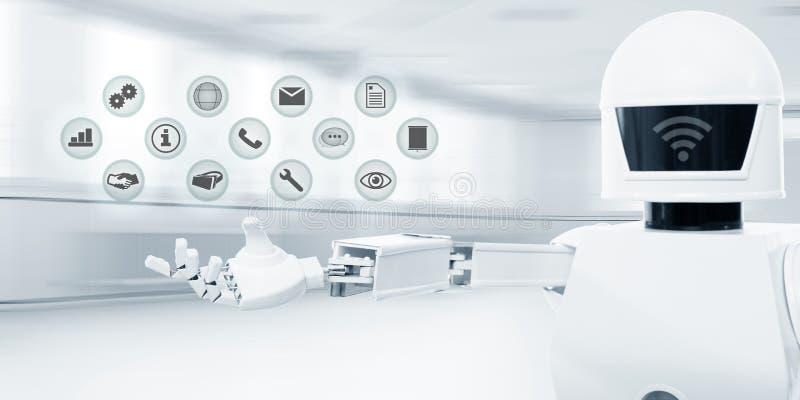 在营业所前面的白色未来派服务机器人 库存照片