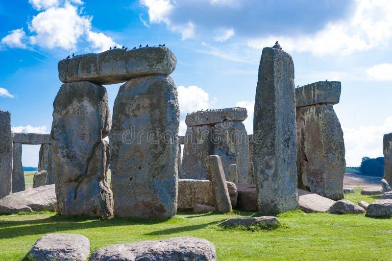 在萨利,威尔特郡, Engla附近的巨石阵史前纪念碑 免版税图库摄影
