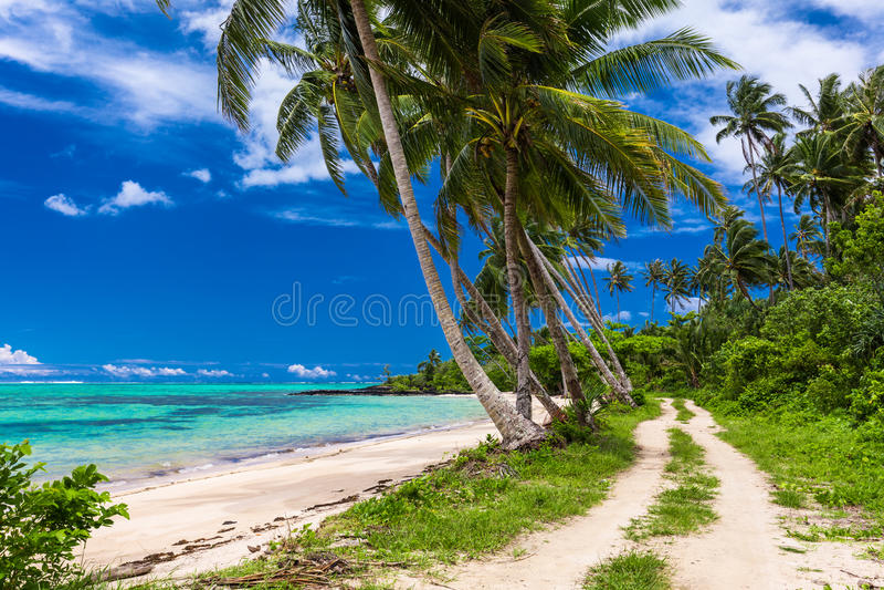 在萨摩亚海岛上的热带海滩有棕榈树和路的 免版税图库摄影