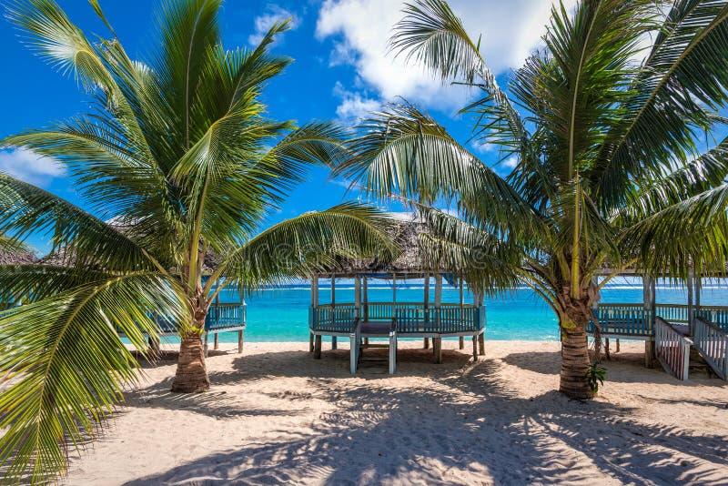 在萨摩亚的海岸的热带海滩 库存图片