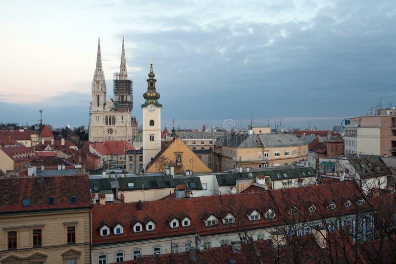 在萨格勒布大教堂的全景 免版税库存照片