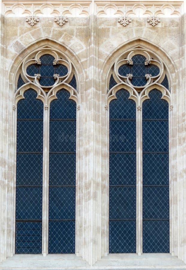 在萨格勒布大教堂的窗口 库存照片