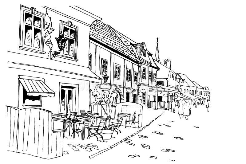 在萨格勒布,克罗地亚导航Tkalciceva街道场面剪影  库存例证