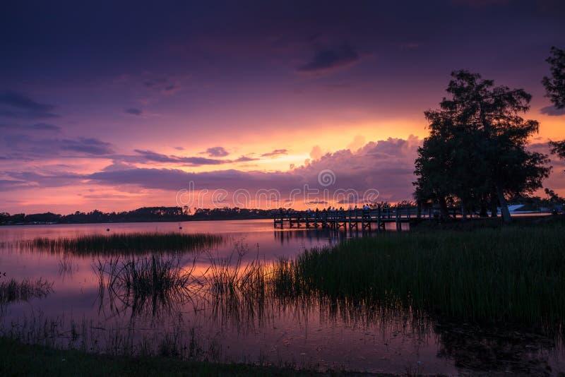 在萨格登地方公园的日落在那不勒斯,佛罗里达 免版税图库摄影