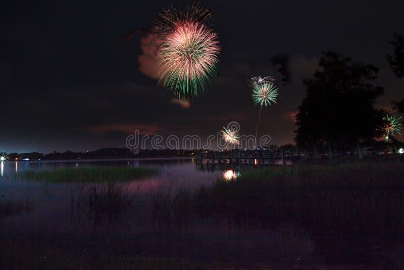 在萨格登地方公园的烟花在那不勒斯,佛罗里达 库存图片