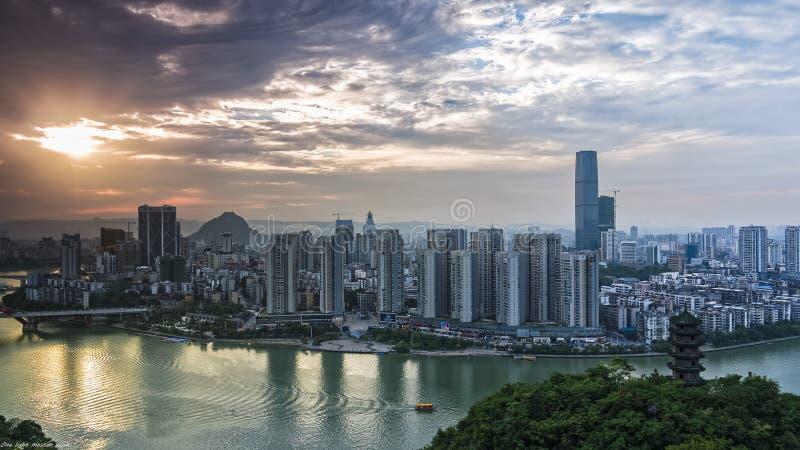 在落日的LiuJiangHe 免版税库存照片