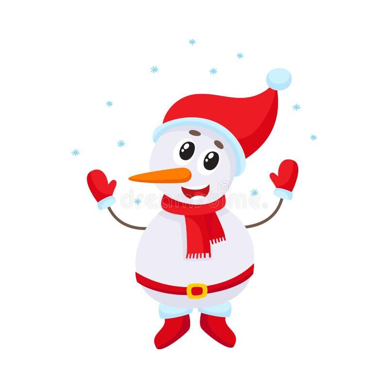 在落的雪,传染媒介例证下的逗人喜爱和滑稽的小的雪人 皇族释放例证