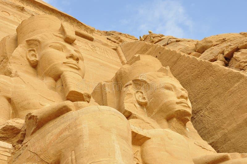 在著名阿布格莱布Simbel的看法在埃及 免版税库存图片