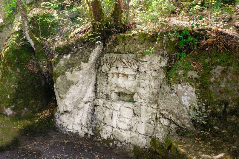 在著名Parco dei Mostri的森林鬼魂,也称Sacro博斯科或Giardini二博马尔佐 妖怪公园 拉齐奥,意大利 免版税图库摄影