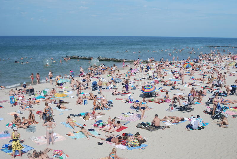 在著名resourt Zelenogradsk的海滩 库存照片