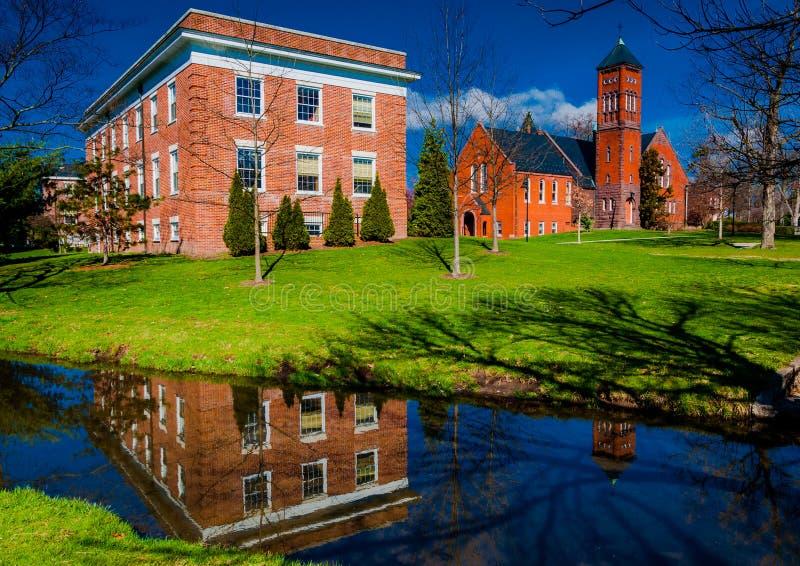 在葛底斯堡学院校园里的Gladfelter霍尔, PA 免版税库存图片