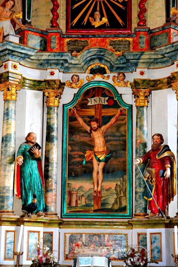 在葡萄园谷的被加强的中世纪教会里面,特兰西瓦尼亚 图库摄影