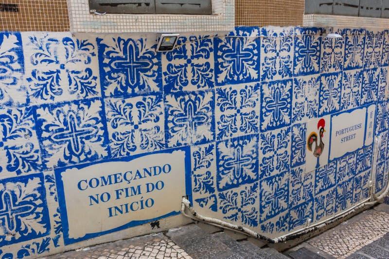 在葡萄牙样式,澳门的墙壁装饰瓦片 库存图片