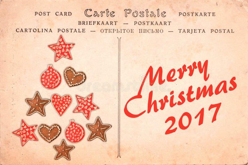在葡萄酒明信片背景的圣诞快乐2017年 库存图片