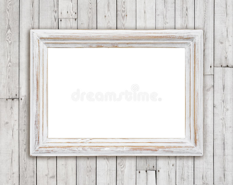在葡萄酒板条墙壁背景的被漂白的木画框 库存照片