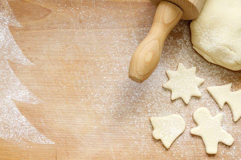 在葡萄酒板的抽象圣诞节食物依托背景 免版税库存图片
