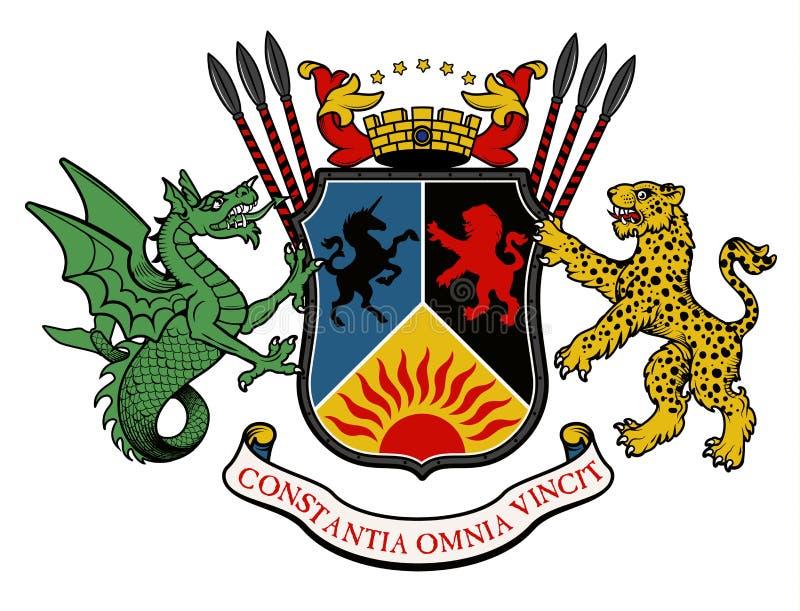 在葡萄酒样式的传染媒介纹章学例证与设计的-传染媒介盾、冠、豹子、双足飞龙和骑士盔甲 库存例证