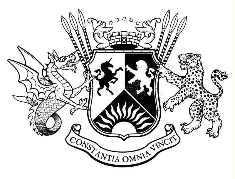 在葡萄酒样式的传染媒介纹章学例证与设计的-传染媒介盾、冠、豹子、双足飞龙和骑士盔甲 皇族释放例证