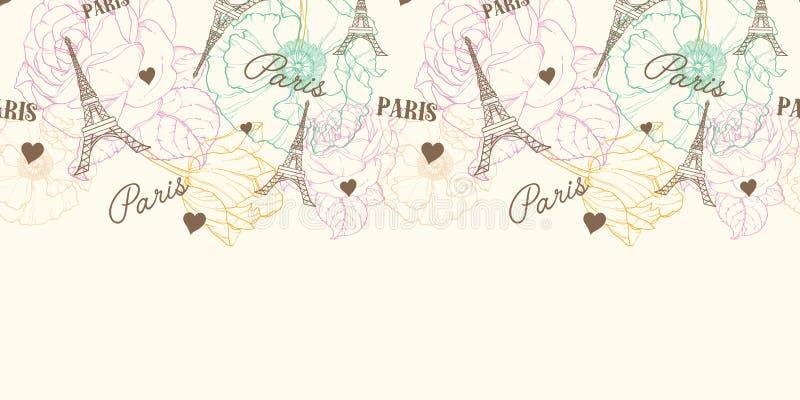 在葡萄酒样式的传染媒介埃菲尔山塔巴黎无缝的样式水平的边界与美丽,浪漫淡色花 皇族释放例证