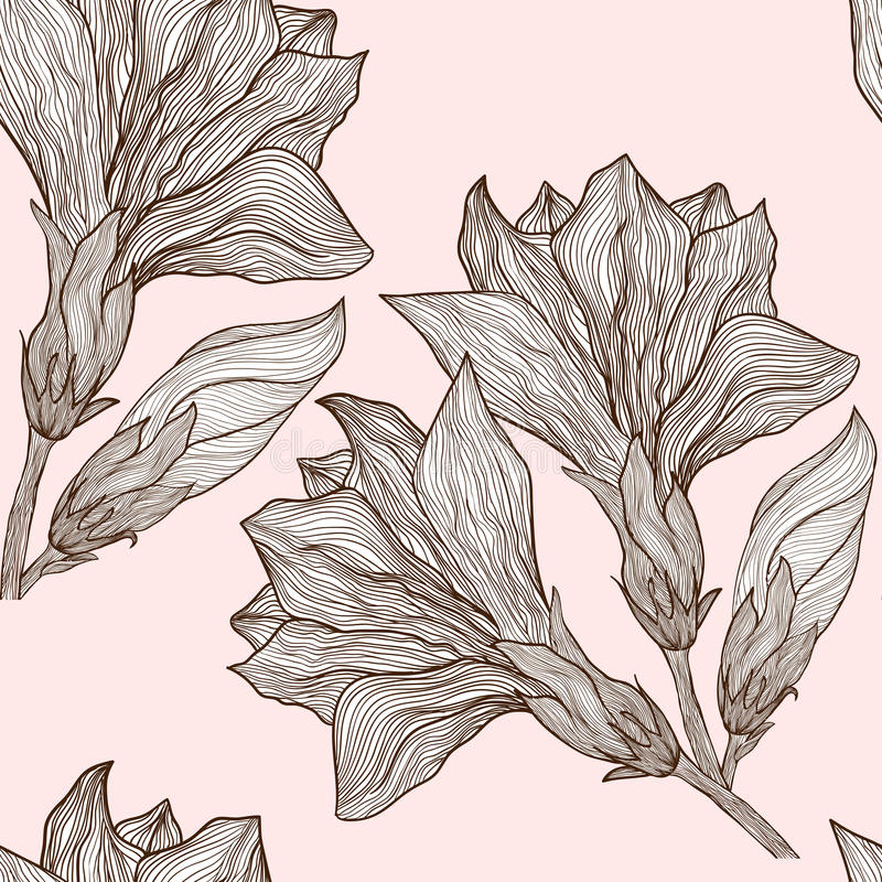 在葡萄酒样式的传染媒介花卉无缝的样式 皇族释放例证