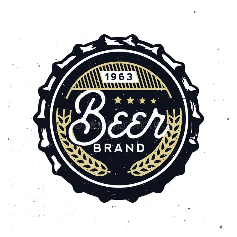 在葡萄酒样式的减速火箭的啤酒盖帽 啤酒烙记 向量例证