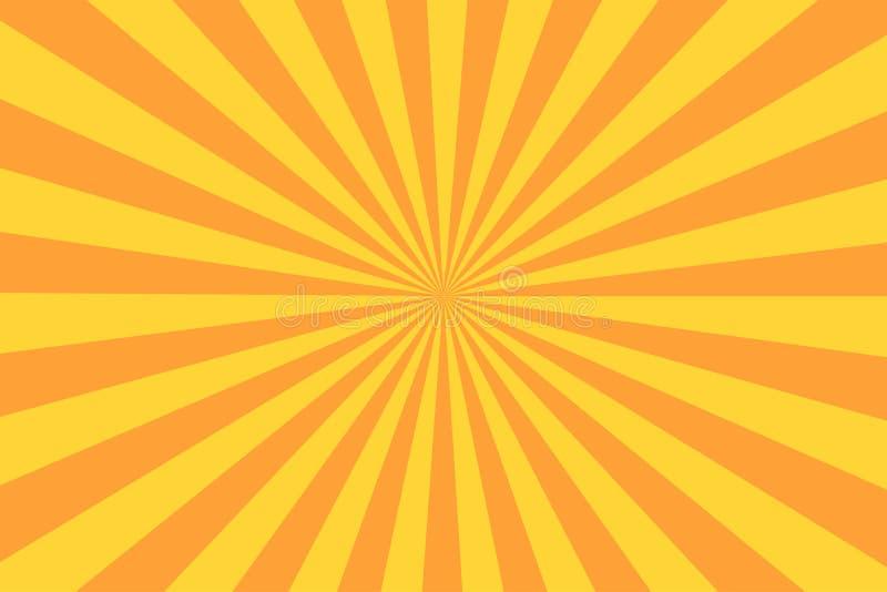 在葡萄酒样式的减速火箭的镶有钻石的旭日形首饰的光芒 抽象漫画书背景 库存例证