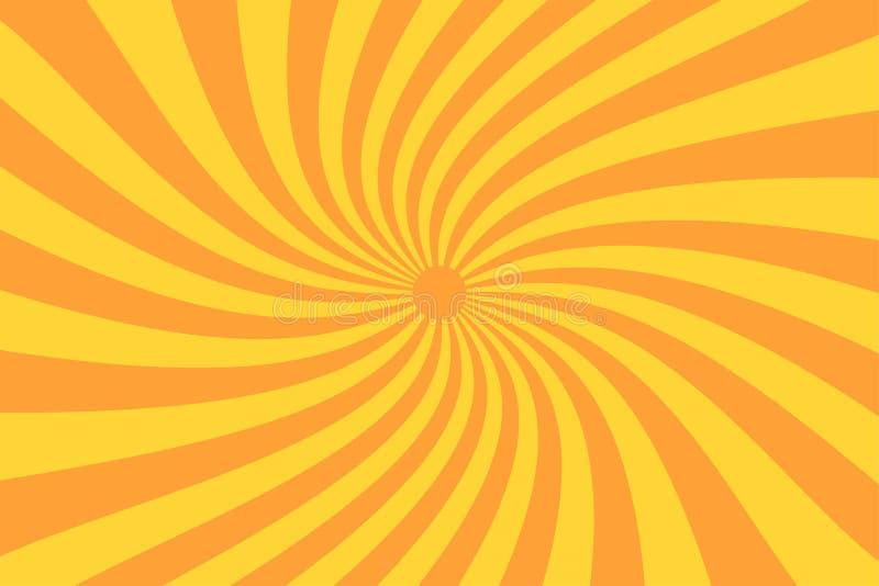 在葡萄酒样式的减速火箭的镶有钻石的旭日形首饰的光芒 螺旋作用 抽象漫画书背景 库存例证