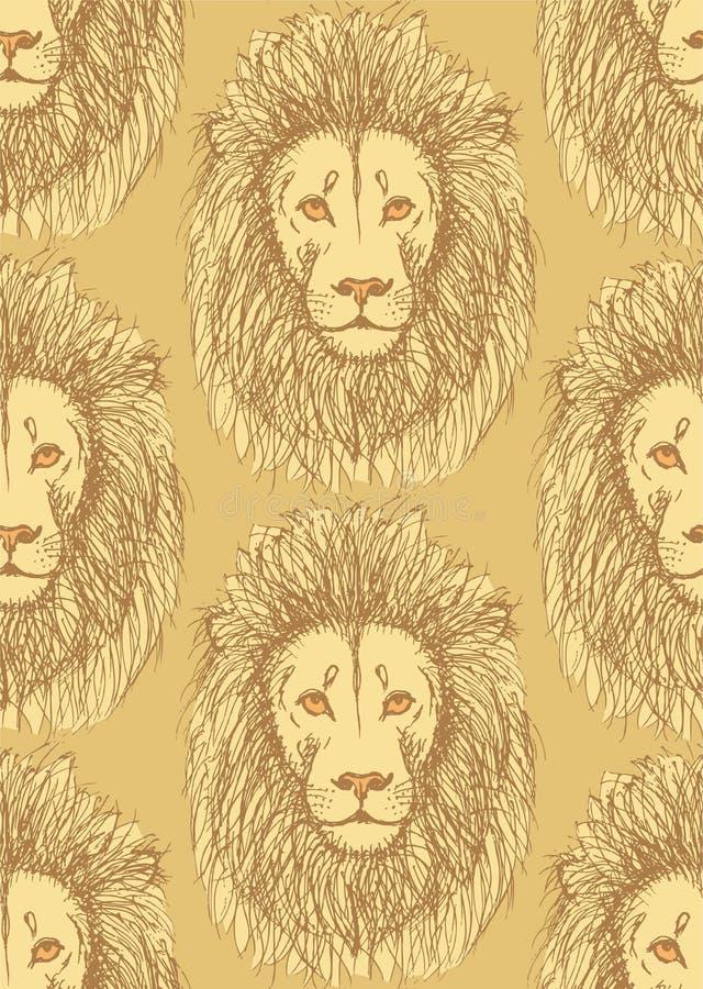 在葡萄酒样式的剪影逗人喜爱的狮子 库存例证