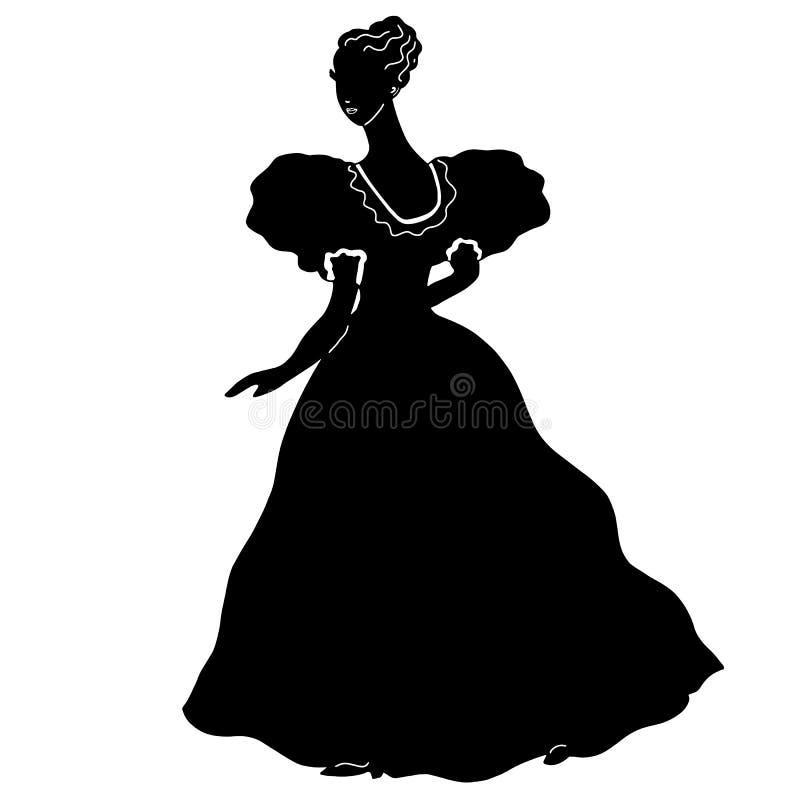 在葡萄酒样式的可爱的女性舞会礼服剪影 新娘 有白色褶边的,卷曲梳的头发长的古色古香的黑礼服 库存例证