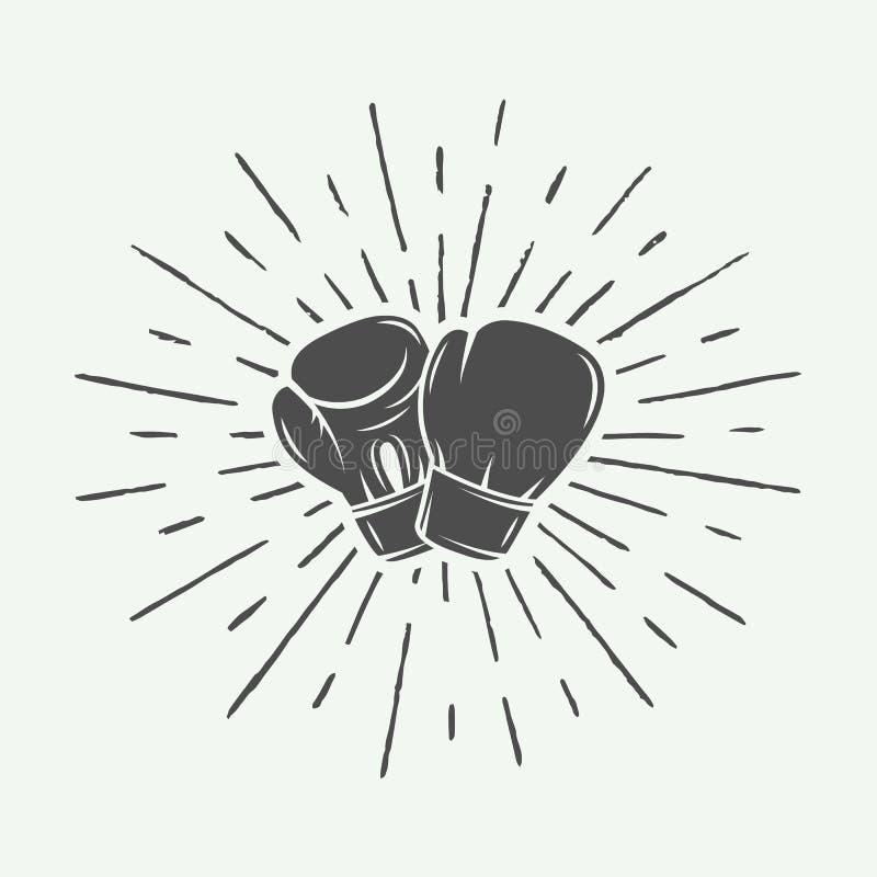 在葡萄酒样式的拳击手套 单色形象艺术 向量例证