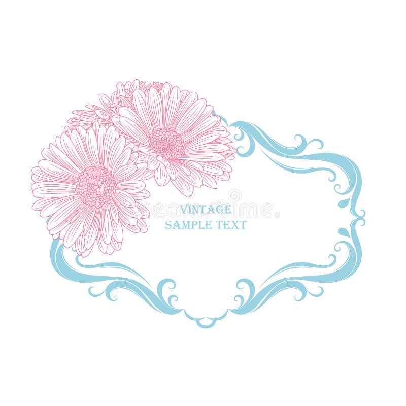 在葡萄酒样式的花卉框架与手拉的花春黄菊 也corel凹道例证向量 向量例证