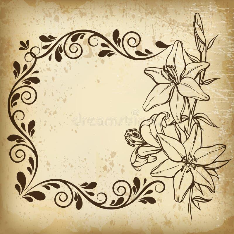 在葡萄酒样式的花卉框架 向量例证