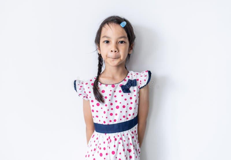 在葡萄酒礼服的亚洲女孩孩子 库存图片