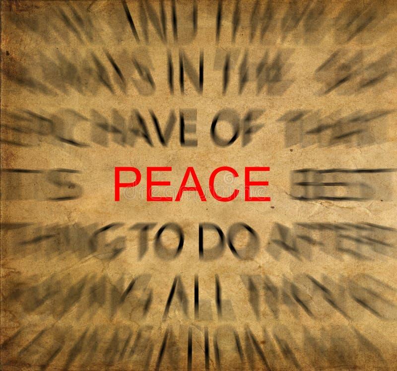 在葡萄酒纸的Blured文本与在和平的焦点 库存照片