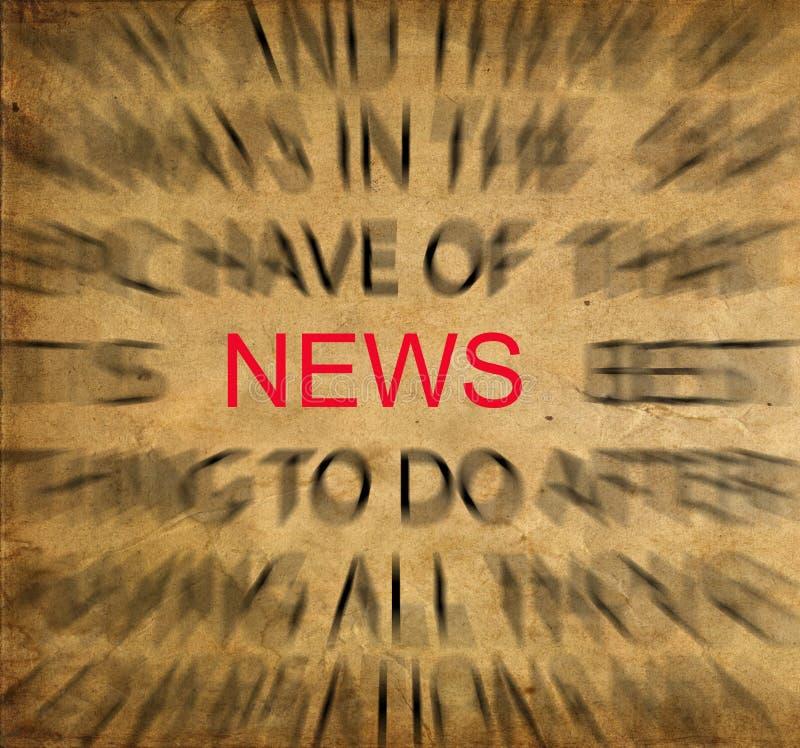 在葡萄酒纸的Blured文本与在新闻的焦点 库存图片
