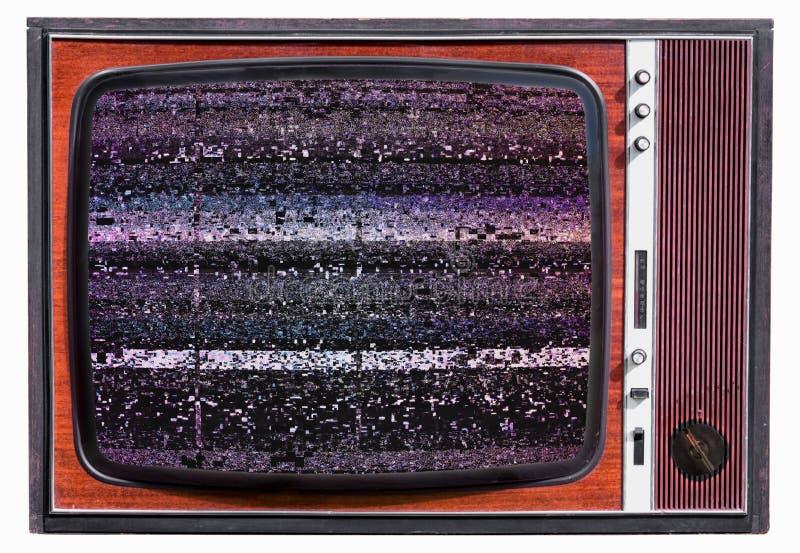 在葡萄酒老电视机的静态噪声 免版税库存图片