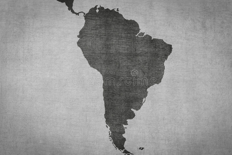 在葡萄酒背景的南美洲地图与脏的纹理 皇族释放例证