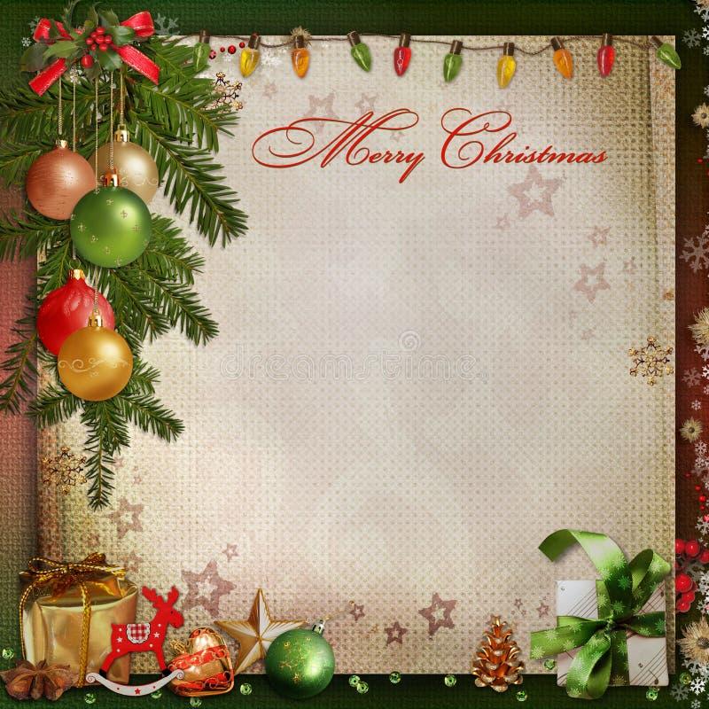 在葡萄酒背景的圣诞节装饰 库存例证