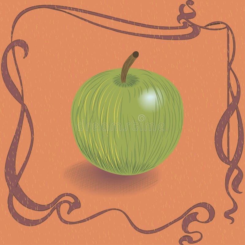 在葡萄酒背景的绿色苹果 库存例证